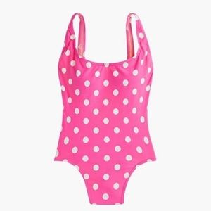 J. Crew Plunging Scoopback One-Piece, Polka Dot